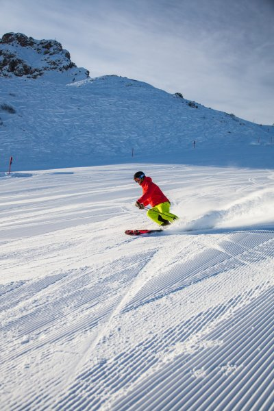 Skifahren auf der Zweiländerpiste