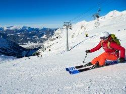 Skifahren hoch über Oberstdorf