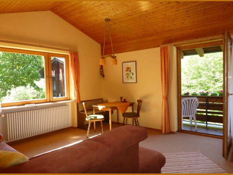 Wohnzimmer mit Südbalkon und Blick nach Osten