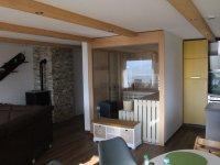 Sauna und Pelletofen im Wohnzimmer