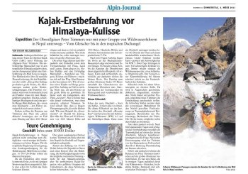 Allgäuer Zeitung: Kajak-Erstbefahrung im Himalaya durch Peter Tümmers und Team