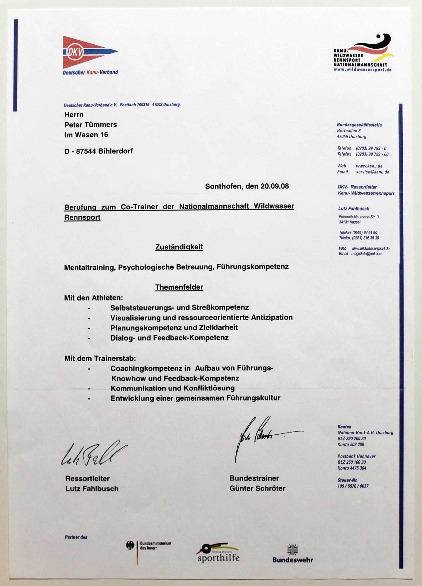 Urkunde Peter Tümmers: Berufung zum Co-Trainer der Wildwasser Nationalmannschaft