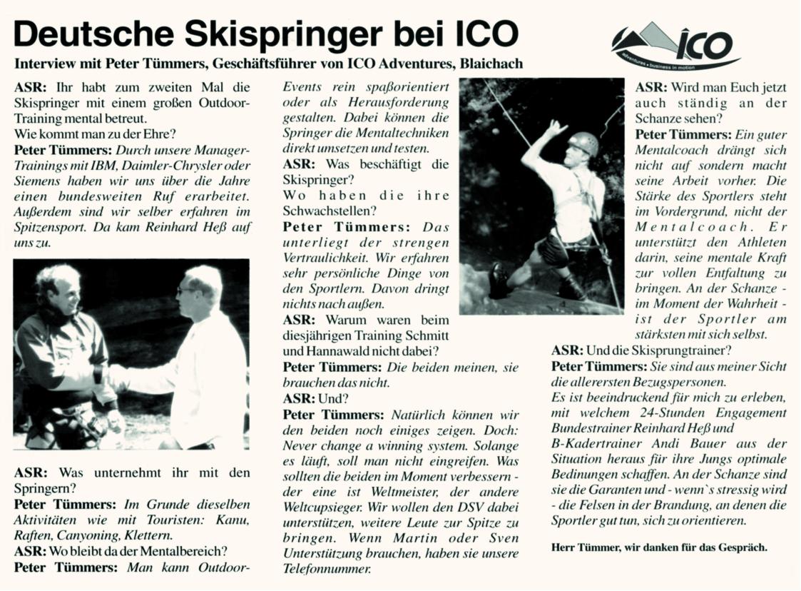 ASR-Interview: Mentalcoach Peter Tümmers über Mentaltraining mit den deutschen Skispringern 2000