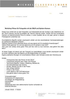 Oberstdorfer Fotogipfel - Infoblatt Videoworkshop Grundlagen 2021
