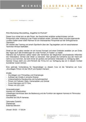 Infoblatt Videoworkshop Storytelling Vogelfrei