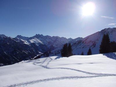 Schneeschuhspur