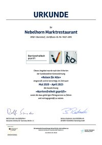 Zertifikat Barrierefreiheit Nebelhorn Marktrestaurant