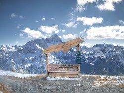 Verschneite Berge am Fotopunkt