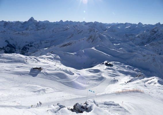 Blick auf das Skigebiet am Nebelhorn