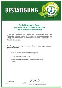 Fellhorn - Zertifikat Ökostrom