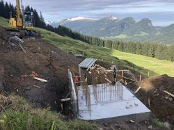 Fundament neue Bergstation Schrattenwangbahn